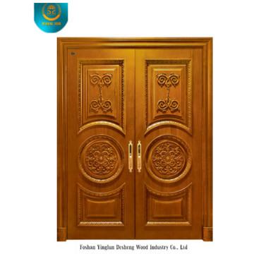 Porte en bois massif de style classique pour deux portes avec sculpture (ds-008)