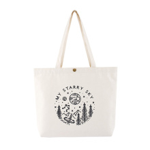 Eco-Friendly Wholesale Recycle Canvas Custom Logo Reusable Cotton Tote Grocery Shopping Bags with Snap-Faster Closure