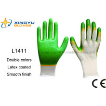 T/C Shell Double Colors Latex Coated Safety Work Glove (L1411)