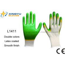 Т/C Оболочки Двойной Цвета Покрынные Латексом Перчатки Безопасности (L1411)