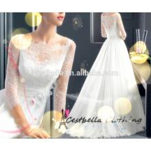 Personalizado de alta calidad de encaje hermoso vestido de novia vestido de novia