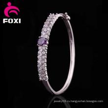 Родий покрытием модный дизайн Свадебный костюм Сияющий CZ браслеты