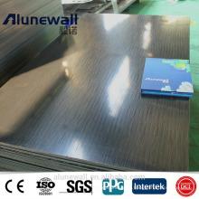 3 mm 830-850mm largura escovado preto ininterrupto painel composto de alumínio ACP 85RMB / folha 20% de desconto