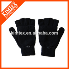 Fashion acrylic knitted fingerless gloves with flap