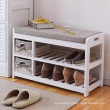 Деревянная скамейка для хранения с ящиками и подушками для обуви