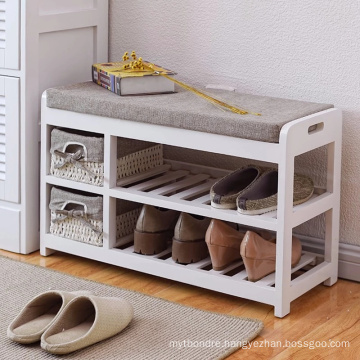 wooden sitting Storage Bench with basket Drawers & Seat Cushion for Shoe Cabinet