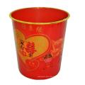 Plástico rojo plástico impreso estilo chino superior cubo de basura (b06-2012-6)