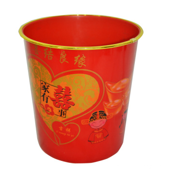 Red Plastic Printed Chinese Style Open Top Dustbin (B06-2012-6)