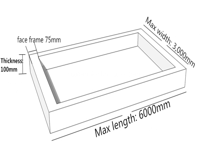 sizes of frameless fabric light box