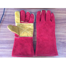 red 14 inches cow split leather welding gloves with reinforced full palm and index finger