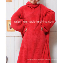 High Quality Solid Color Coral Fleece Snuggie for Adults