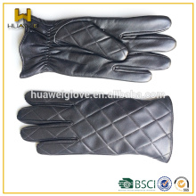 Winter Black Leather Motorcycle Driving Gloves Men's Leather Gloves