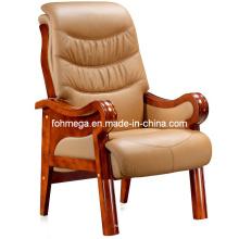 Beige Leder Massivholz Konferenz Stuhl Bürostuhl (FOH-F03)