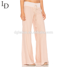 Pantalones de lino baggy de la playa de la alta cintura llano cómodo holgado para las mujeres