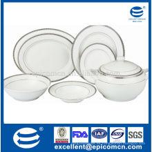Buena calidad de stock 41pcs vajilla de porcelana redonda conjunto con decoración en relieve