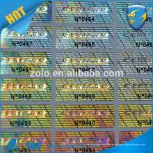Impresión láser de alta calidad de la matriz de puntos 3d holográfica pegatina personalizada etiqueta holográfica con 12000 dpi