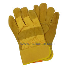Yellow Cow Split Leather Safety Working Gloves