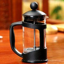 Pote de presión de té de vidrio Pyrex de plástico de alta gama