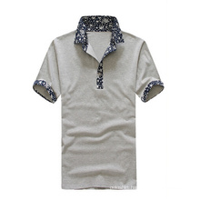 100 Polyester Wholesale Light Grey Printed Collar Polo for Men