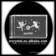 K9 3D Laser Engraved Gemini Etched Crystal Block