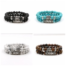 2PCS Gemstone Buddha Head Bracelet for women Men