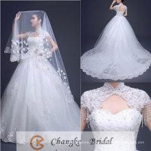 2017 Vestido nupcial del patrón del tren de la corte del vestido de bola del amor del vestido de boda de la alta calidad 2016 Velos libres
