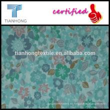 hojas y flores de colores de impresión en 100 algodón dobby en peso ligero para el vestido