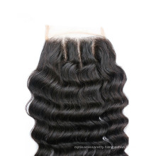 China hair factory three part deep wave lace closure with baby hair wholesale price
