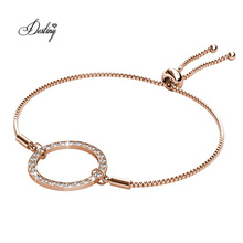 Crystal Women Gold Plated Chains Looped Circle Bracelet