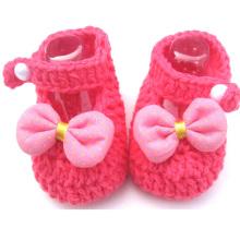 Baby-Häkelarbeit Strick-Sandalen Schuhe Wolle Handgefertigt