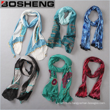 Custom печатных шарфы, Мода женщин Красочный длинный шарф