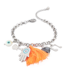 Stainless Steel Beauty Tassels Natural Stone Music Guitar Hand Charm Bracelets