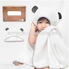 Ensemble de serviettes et débarbouillettes à capuchon en bambou 100% biologique | Serviette de bain à capuchon extra-large avec des oreilles de panda gris pour bébé nouveau-né