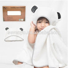 100% Organic Bamboo Hooded Baby Towel & Washcloth Set | Extra Large Hooded Bath Towel With Gray Panda Ears For Babies Newborn