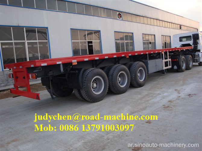 3 axles 20 '/ 40' Flatbed Container نصف مقطورة