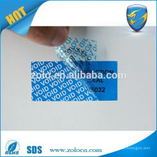 ZOLO popular product custom security sticker, Polyester label material Warning Label stock paper