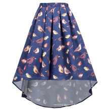 Kate Kasin Women's Birds Pattern Elastic Waist Pleated Cotton High-Low Skirt KK000805-1