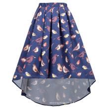 Kate Kasin Páscoa das mulheres Padrão Elastic Waist Pleated Cotton High-Low Skirt KK000805-1