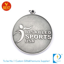 China Custom 3D Embossed Logo Zinc Alloy Matte Nickel Plating Metal Award Sport Medal