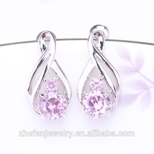 Hong Kong jewelry wholesale representative in brazil long silver earrings with big stone Rhodium plated jewelry is your good pick