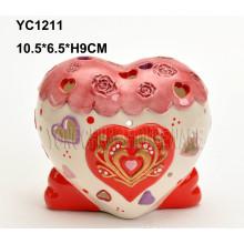 Suporte de castiçal em forma de coração pintado à mão