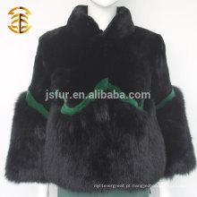 Whosale Fashion Women Stand Collar Genuine Rex Rabbit Fur and Fox Fur Coat