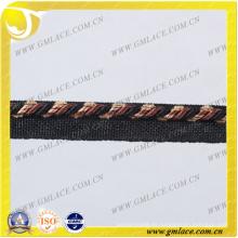 Negro Cuerda decorativa para la decoración del cojín Decoración del sofá Sala Sitio de la cama