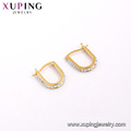 E-581 XP fashion simple gold design jewelry clip on earrings with Synthetic CZ
