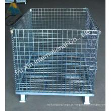 Gaiola de aço do armazenamento do metal da pálete do fio da malha do rolamento