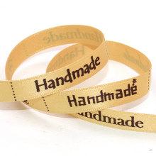 Cinta de raso personalizada con frontera con lunares, impreso Favor cinta, cinta de la boda
