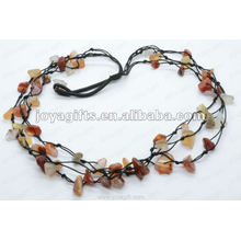 3Wire Knotted Red Agade Chip Necklace