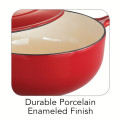 Cast Iron Enamel Covered Saucepan With Helper