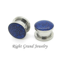 Grifos de acero quirúrgico Screw Fit Gauge 14 Gauge Glitter Ear Gauge Plugs