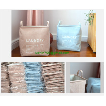 Large Sized Waterproof Coating Ramie Cotton Fabric Folding Laundry Hamper